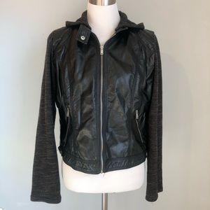 Xhilaration Faux Leather and Sweater Moto Jacket